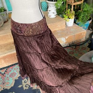 Fang Brown Satiny Tiered Ruffle Midi Skirt size M